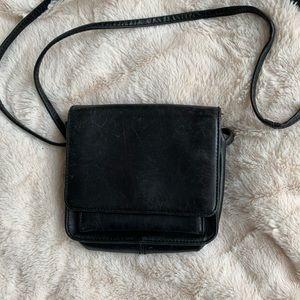 Hobo crossbody black leather bag